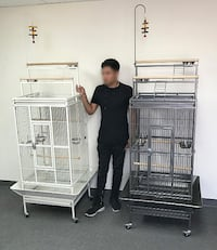 "New $120 each 89"" Bird Cage Play Top Ladder Parrot Cockatoo Parakeet w/ Wheels (Black or White) Alhambra"