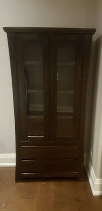 Armoire.Indian wood. Glass with 2 drawers. Oakville, L6L 4Y3