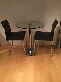 Design Within Reach Leather Counter Stools and Wayfair Glass Cafe Table Arlington, 22201