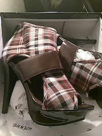 pair of brown-and-white plaid leather heels Milwaukee, 53205
