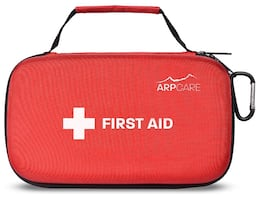 Compact First Aid Medical Kit - 121 Piece - Hard Carry Case Perfect fo