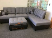 Brand New Grey Linen Sectional Sofa +Ottoman  Silver Spring, 20902