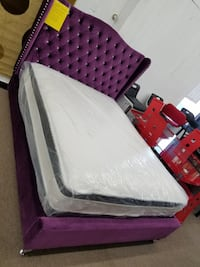 Queen purple velvet material platform bed frame on College Park