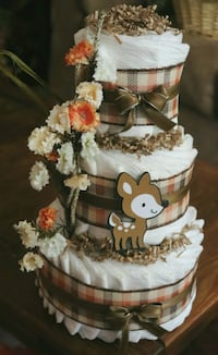 Woodland animals diaper cake