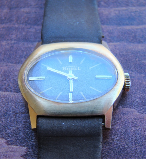 7659a7777 Ernest Borel Synchron 10 Gold Plated 17 Jewel VTG Mechanical Wind Watch  Working