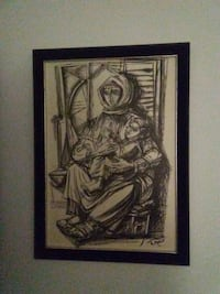 black wooden framed painting of woman Toronto, M4C 1H7