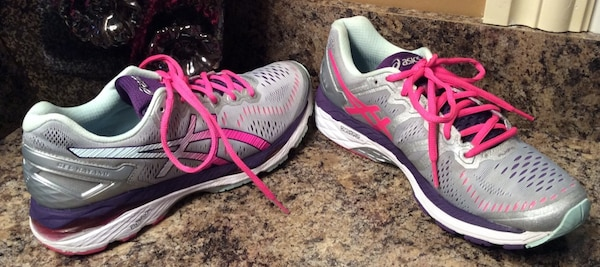 Asics gray, pink, purple, white, & silver running shoes