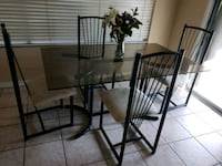 black steel framed glass top table with chairs Surprise, 85378