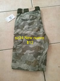gray and black camouflage cargo shorts