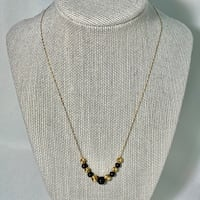 14k Gold Black Onyx Bead Necklace Chain Chantilly, 20151