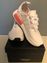 pair of white Adidas low-top sneakers with box Richmond Hill, L4E 0C2