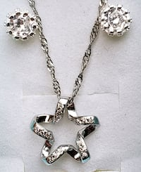 Sterling silver star pendant and chain with earrings