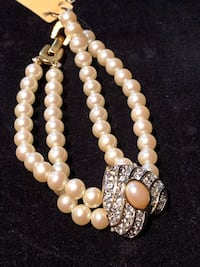 Vintage Richelieu bracelet from 1970's faux pink pearl and Austrian Crystal stones Surrey, V4N 0L4
