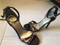 Pair of black leather open-toe ankle strap heels size 7 El Paso, 79912