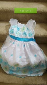 baby's white and blue floral dress Edmonton, T6T 1M7
