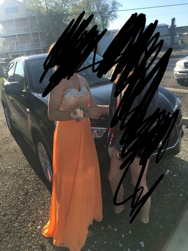 Women's orange and silver one-shoulder Prom Dress