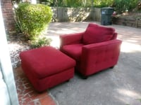 red fabric sofa chair and ottoman 534 mi