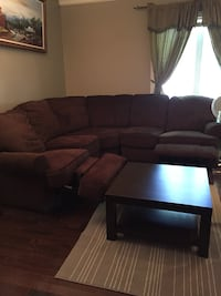 brown fabric sectional sofa with coffee table Montréal, H4E 3L3