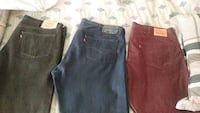 One black one blue and one red denim bottoms Inkster, 48141