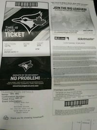 Blue jays ticket Vaughan, L4H 0S4