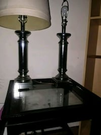two black metal base table lamps with table Maple Shade Township