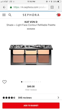 KAT VON D shade + light face contour refillable palette $30 ($49 at Sephora) Fairfax, 22032
