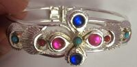 Silver with blue oink and green gemstone cuff bracelet Arlington, 22205