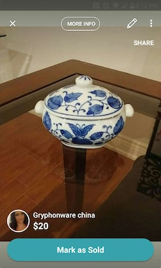 white and blue floral ceramic gryphonware