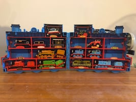 Thomas the train carrying case and 10 trains