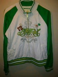 green and white zip-up letterman jacket