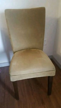 brown wooden framed beige padded chair Tulsa, 74104