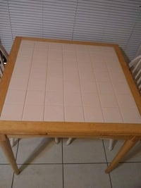 Solid Wood Table w/ Two chairs Tile Top Table 784 mi