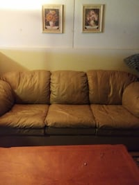 Tan-Gray leather full size couch