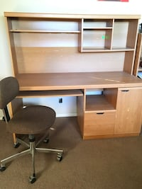 brown wooden computer desk with hutch Los Angeles, 90006