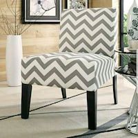 white and black chevron padded chair