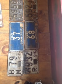 Vintage license plates. Great Wall hanger Windsor, 06095