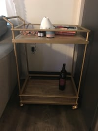 Gold and wood bar cart with wheels  Washington, 20002