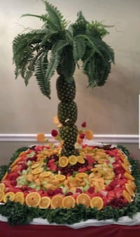 Desserts, cakes and fruit displays