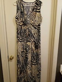 black and brown scoop neck sleeveless maxi dress Forrest City, 72335