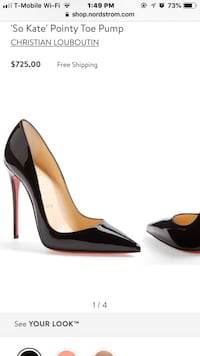 pair of black leather pointed-toe pumps Los Angeles, 91324