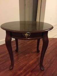 Round brown wooden side table Coquitlam