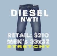 NWT! $210 *DIESEL* men's 33x32 Slim Straight Jeans Stretchy Blue Toronto