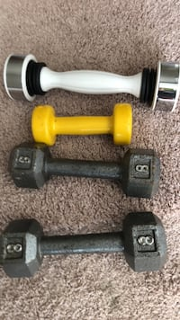 Exercise dumbbells. Three cast iron dumbbells and one other one Norfolk, 23523