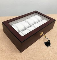 "New $35 Watch 12 Slot Display Case Wood Wooden Boxes Jewelry Storage Organizer 13""x8""x3"" South El Monte"