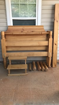 Brown wooden bed frame queen size