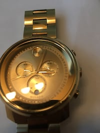 round gold-colored chronograph watch with link bracelet Modesto, 95355