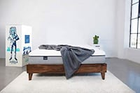 Brown wooden bed frame without mattress Lancaster, 14086