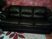 Chocolate brown couch faux leather Cobourg, K9A 3M1
