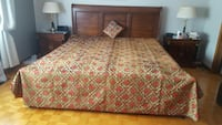 Velvet bedspread with one decorative pillow, 104 inches(Length) x 102 (width), fits Queen or King size bed