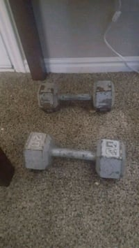 two gray fixed weight dumbbells Provo, 84601